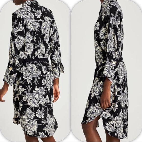 d27a2395 Zara Dresses | Nwt Black White Shirt Dress With Bow Small | Poshmark
